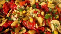Kırmızı Biberli Mantar Salatası